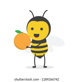 vector illustration character cartoon design cute honey yellow bee mascot holding orange fruit delicious with in white background