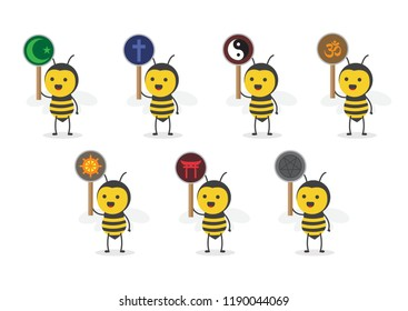 vector illustration character cartoon design cute honey yellow bee mascot holding sign symbol of religion set in white background