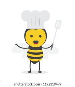 vector illustration character cartoon design cute honey yellow bee mascot holding spatula and cook chef hat in white background