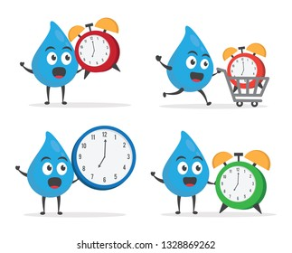 vector illustration character cartoon modern flat design brand of cute water blue mascot holding alarm clock watch for information wake up with trolley market shopping cart in white background