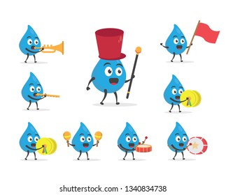 vector illustration character cartoon modern flat design brand of cute water blue mascot play group team marching band parade music in white background