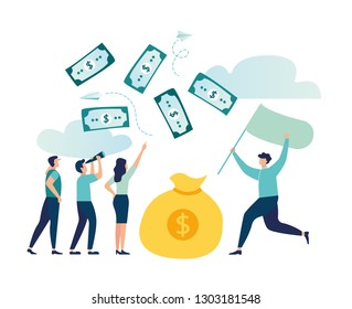 Vector illustration, character catches money with a net, the expression is money for the wind