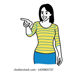 Vector illustration character of cheerful woman, casual cloth, pointing at camera. Linear, thin line art, hand drawn sketch design, simple style.