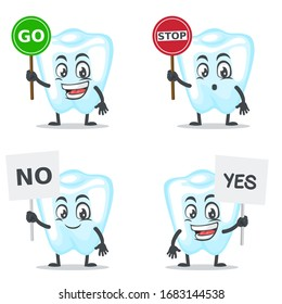 vector illustration of character or dental mascot collection set with sign theme