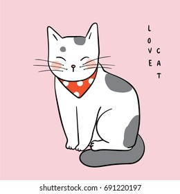 Vector illustration character design adorable cat on sweet pastel.Draw doodle style.