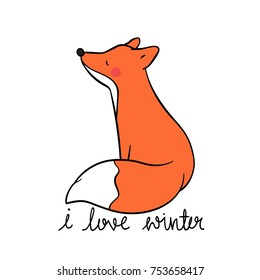 Vector illustration character design adorable fox and word I love winter.Draw doodle style.