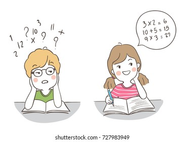 Vector illustration character design a boy confused and a girl has a good idea to do math.Doodle cartoon style.
