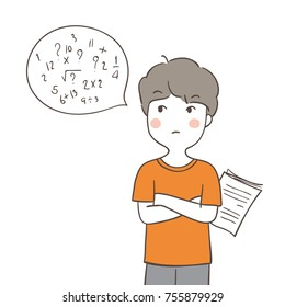 Vector illustration character design a boy confused to do math.Doodle cartoon style.