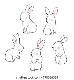 Vector illustration character design collection outline of cute rabbit.Draw doodle cartoon style.