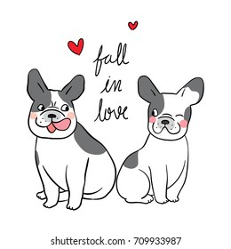 Vector illustration Character design of couple  french bulldog fall in love so cute and happy and little heart.Doodle cartoon style.