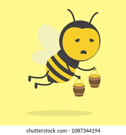 vector illustration character design cute honey yellow bee mascot is tired fly and holding honeypot in yellow background