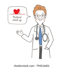Vector illustration character design doctor saying medical check up for your health.Draw doodle style.