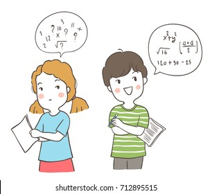 Vector illustration character design a girl confused and a boy has a good idea to do math.Doodle cartoon style.