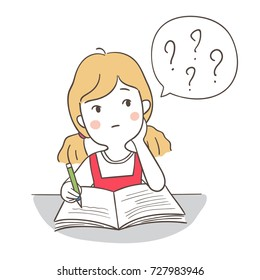 Vector illustration character design a girl confused and many question in speech bubble to do math.Doodle cartoon style.