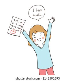 Vector illustration character design happy girl holding the best result test and say I love math.Doodle cartoon style.