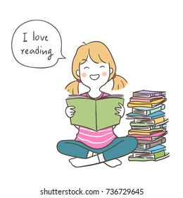 Vector illustration character design a happy girl sitting and hold a book love reading in speech bubble for school.Doodle cartoon style.