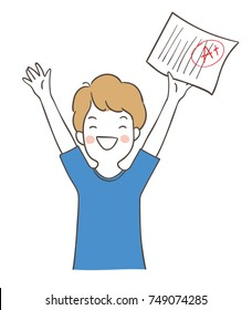Vector illustration character design happy boy holding the best result test.Doodle cartoon style.