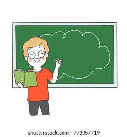 Vector illustration character design happy student standing front blackboard Blank space for text.Doodle cartoon style.