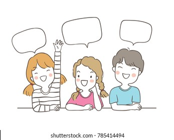 Vector illustration character design happy students speaking and speech bubble for school.Draw doodle cartoon style.