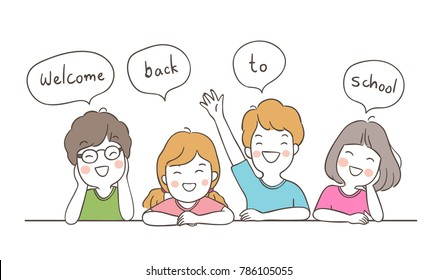 Vector Illustration Character Design Happy Students Saying Welcome Back To  School In Speech Bubble.Draw