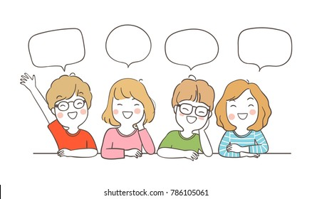 Vector illustration character design happy students saying something and speech bubble for school.Draw doodle cartoon style.