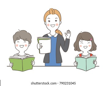 Vector illustration character design happy students reading book and teacher teaching for school.Draw doodle cartoon style.