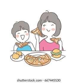 Vector illustration character design mother and a boy enjoy eating.Doodle style.
