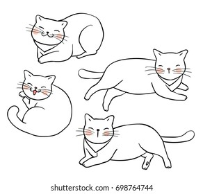 Vector illustration character design outline of cat.Draw doodle style.