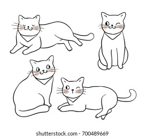Vector illustration character design outline of adorable cat.Draw doodle style.