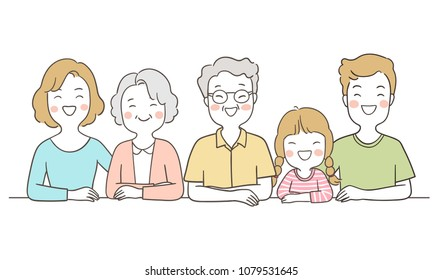 Vector illustration character design portrait happy big family elderly senior,mom,dad and girl.Isolated on white color.Draw doodle cartoon style.