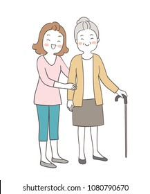 Vector illustration character design portrait mom help grandmother to walking with cane.Isolated on white color.Draw doodle cartoon style.