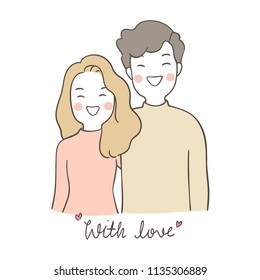 Vector illustration character design portrait young couple man and woman hug with love.Isolated on white.Draw doodle cartoon style.