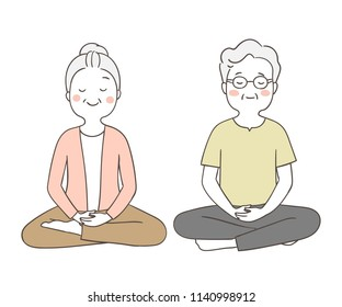 Vector illustration character design portrait elderly senior grandmother and grandfather in meditation time.Isolated on white.Draw doodle cartoon style.