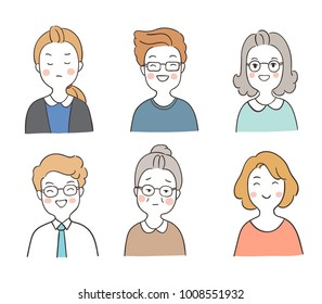 Vector illustration character design set adorable portrait of people,woman and man different emotion.Draw doodle cartoon style.