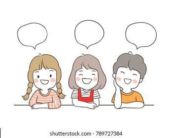 Vector illustration character design set happy girl and boy with speech bubble for school.Draw doodle cartoon style.