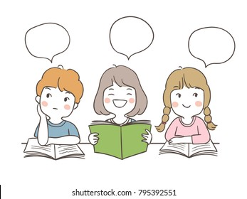 Vector illustration character design set students reading and speech bubble for school.Draw doodle cartoon style.