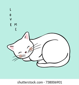 Vector illustration character design white cat sleeping on green pastel color so cute happy.Draw doodle style.