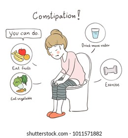 Vector illustration character design woman with symptom constipation so sad and unhappy, health care medical.Draw doodle cartoon style.