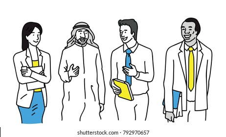 Vector illustration character of diverse, multi-ethnic businesspeople, man and woman, walking, talking, discussing, greeting. Outline, linear, thin line art, hand drawn sketch design.