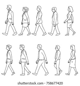 Vector illustration character of full length businesspeople, man and woman, walking, diversity, multi-ethnic, side view. Outline, linear, doodle, hand drawn sketch, simple black and white line art.