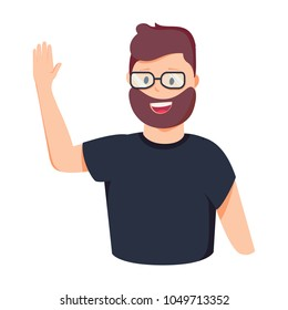 Vector illustration character happy business man greeting say Hi Hello. Cartoon style man in glasses holding hand up. Guy giving high five for deal or congratulation. Human emotion EPS 10