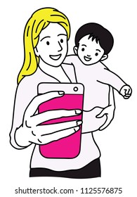 Vector illustration character of happy mother holding smartphone, taking selfie with her child. Outline, linear, thin line art, hand drawn sketch design, simple style.
