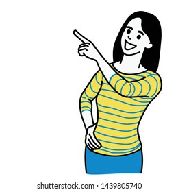 Vector illustration character of happy woman, in casual cloth, pointing up into blank space. Linear, thin line art, hand drawn sketch, simple design.