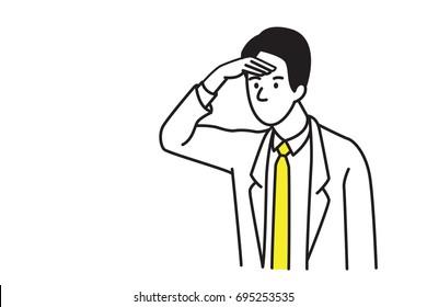 Image vectorielle portrait de personnage d'homme d'affaires, main levée, regardant devant le concept d'avoir une vision dans le futur et plus loin. Plan, art en ligne, dessin dessiné à la main.