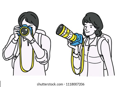 Vector illustration character portrait of male and female photographers, cameraman, holding camera in hand with carrying bag. Outline, linear, thin line art, sketch design, simple style.