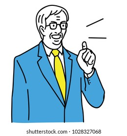 Vector illustration character portrait of senior businessman, manager, leader, boss, politician, pointing with serious speaking. Outline, linear, thin line art, hand drawn sketch design.