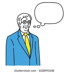 Vector illustration character portrait of senior businessman, manager, leader, boss, politician thinking something with speech bubble. Outline, linear, hand drawn sketch design.