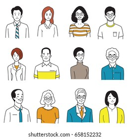 Vector illustration character portrait of smiling people, various, group, multi-ethnic, diversity, many nationalities, generation. Simple hand draw, sketch, doodle, cartoon, and color style.