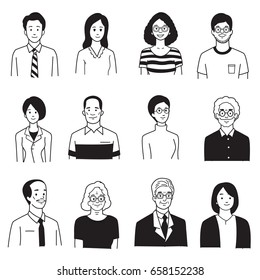 Vector illustration character portrait of smiling people, various, group, multi-ethnic, diversity, many nationalities, generation. Hand draw, sketch, doodle, cartoon, balck and white color style.