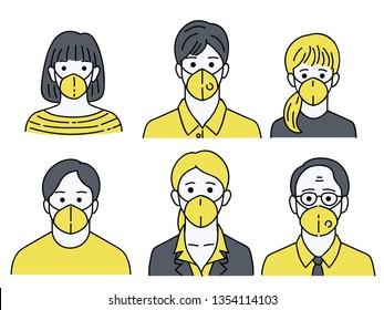 Vector illustration character portrait of various people, man woman, young and old, wearing mask to protecting bad dusk pollution. Linear, line, sketch, simple style.